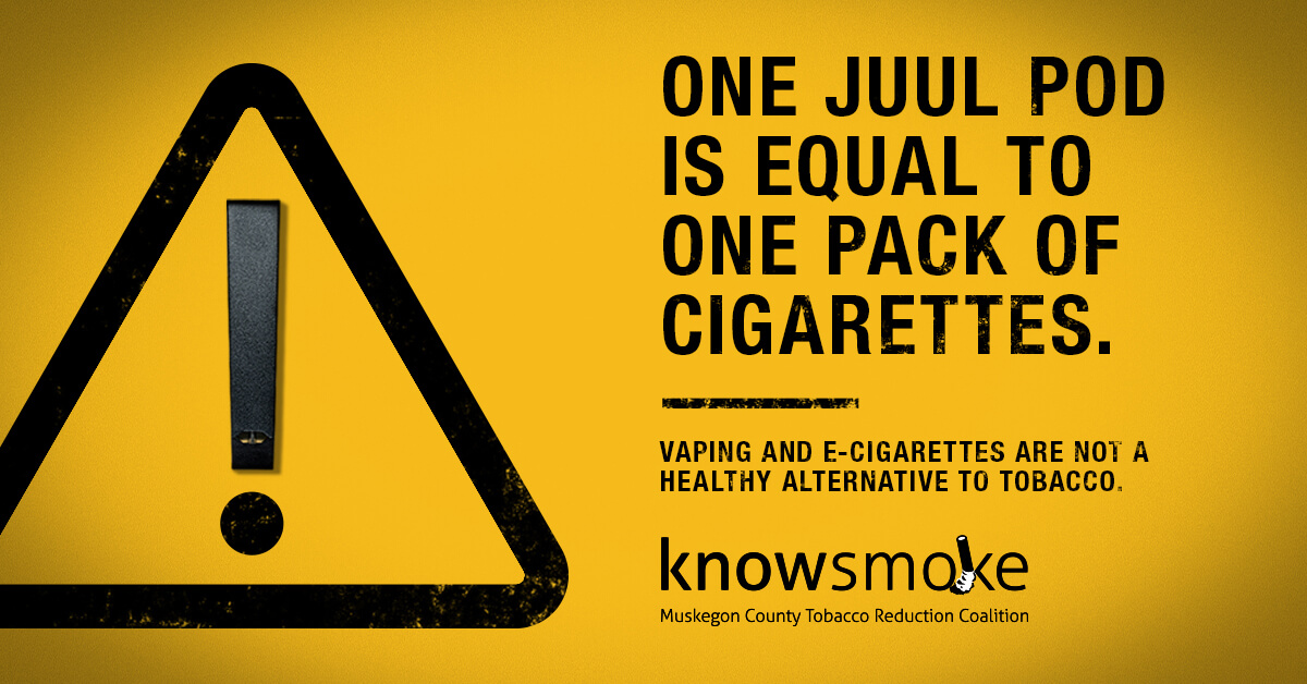 One Juul Pod is equal to one pack of cigarettes. Vaping and e-cigarettes are not a healthy alternative to tobacco.